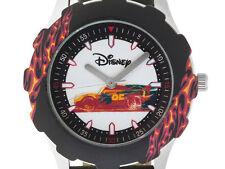 Disney (R) Tween's Lightning Mcqueen Black Leather Strap& Stainless Steel Watch
