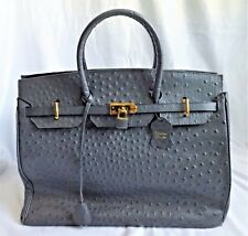 LOVELY GRAY OSTRICH LEATHER LARGE TOTE BAG SAME STYLE AS A KELLY BAG