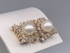 14K Yellow Gold 6.7MM Pearl and Diamond 1.20CTW Stud Earrings