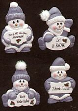 4 Adorable Snowman Ceramic Bisque Ornaments  Ready-U-Paint
