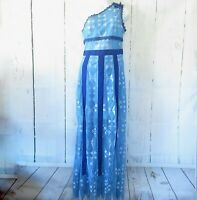 New Foxiedox Juliet Maxi Dress S Small Blue Lace One Shoulder Hippie Boho 70s