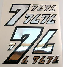 Racing Numbers Number 7 Decal Sticker Pack Silver Black 1/8 1/10 RC models S06