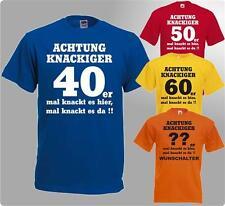 Funshirt zum Geburtstag T-Shirt Achtung knackiger 40er 50er 60er und Wunschjahr