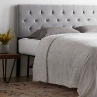 Rest Haven Upholstered Diamond Tufted Low Profile Headboard, King/Cal King, Gray