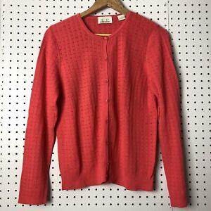 Vintage EP Pro Women's Golf Cardigan Sweater Size Large Pink Eyelet Spring