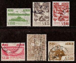 Peru Scott C115,C116,C116A,C118,C120,C121 Airmails Used 1953-60 Issues Canceled