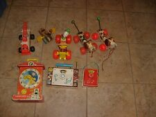 8 VINTAGE FISHER PRICE USED LOOSE TOYS LOT CLOCK DOG RADIO DOG CLOWN PULL TOY