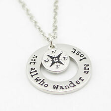 Not All Who Wander Are Lost Compass Pendant Necklace Jewelry Silver Chain Charms