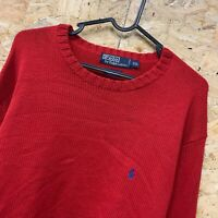 Men's POLO RALPH LAUREN Crew Neck Cotton Jumper Size XXL 2XL - Red