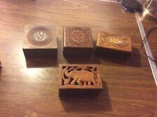 Vintage Unique Design Wooden Hand Carved Trinket jewelry Storage Box Lot of 4