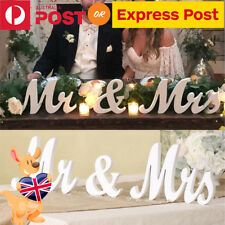 AU Wedding Decoration Mr and Mrs Letters Wooden Reception Sign White Romantic
