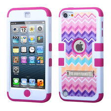 PINK CAMO CHEVRON Hard+Soft Rubber Hybrid High Impact Case - iPod Touch 5th Gen