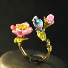 Bague Reglable Petit Email Oiseau Perroquet Bleu Fleur Rose Retro Original L3