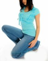 ♥ SeXy Miss Damen Girly Bolero Look Long Shirt Top Karo Style XS 32/34 blau Neu