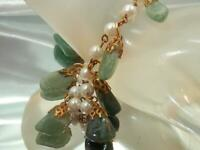 WOW Vintage 60's Classic Genuine Jade Faux Pearl Gold Tone Pretty Bracelet 801D0