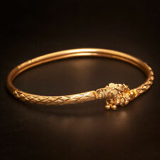 Handmade Women's Heavy Dubai Bracelet In Solid Fine Certified 22K Yellow Gold
