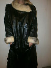 vtg ladies 60s LONG BLACK LEATHER & FUR COAT Mink Collar Cuffs LAMSONS Toledo