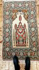 Vintage 1980-1990s Inscribed Bunyan-Kayseri Wool Pile Prayer Rug 3x5ft