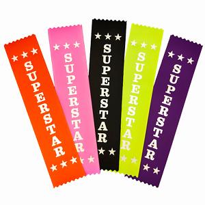 10 Superstar Award Ribbons - Mixed Colours - Metallic SILVER print
