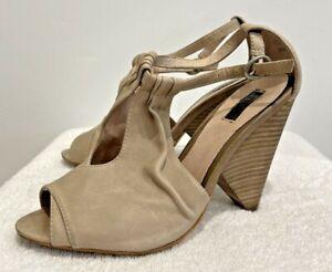 RMK Women's beige Leather cone wedge heel ankkle strap open toe shoe 7.5 GRT