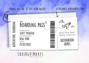 PERSONALISED BOARDING PASS SURPRISE MOCK PLANE TICKET adventure holiday reveal