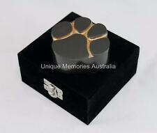 Solid Brass Slate Style Cat & Dog Pet Paw Print Keepsake Cremation Urn + Case