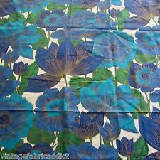 50cm x 116cm VINTAGE cotton curtain fabric  1970s Giant Blue Poppy Floral Retro