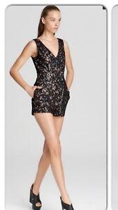 BCBG Max Azria Olsen Romper Black Lace Sequin V-Neck Nude Underlay Short Medium