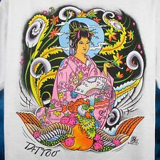 NOS vintage 80s JAPANESE WOMAN PHOENIX TATTOO T-Shirt LARGE/XL cartoon asia thin