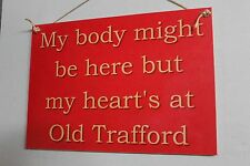 Old Trafford Manchester United EPL English Football Soccer Wooden Rustic Sign