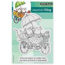 New Penny Black TANDEM Slapstick Cling Rubber Stamp Mice Friend Bicycle Critters