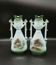 """2 Victorian Spill  Vases porcelain painted cottage scenes  7.5"""" tall, marked 843"""