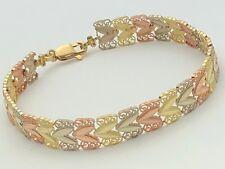 """14K Tri-Color Gold Filigree Diamond Cut Leaf Link Bracelet 8"""" 10mm 10.3 grams"""