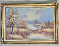 Stunning Original Oil on Canvas Landscape By T. Wood In Gold Framed & Signed