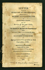 Albert Gallatin: Letter from the Secretary of the Treasury, January 6, 1810