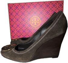 $285 Tory Burch Sophie Brown Wedge Pumps Round Logo  Shoe 10 - 40