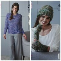 KNITTING PATTERN Ladies Cable Jumper, Hat &Fingerless Mitts Chunky KingCole 5186