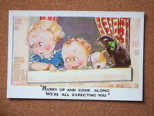 R&L Postcard: Artist Kit Forres, Regent Pub. 6214, Hurry Up, Cat/Dog Children