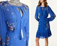 KAREN MILLEN Embroidered Flowers Frilled Hem Casual Special Dress UK12 EU40
