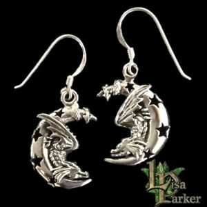 LISA PARKER EARRINGS Dragon Crescent Moon Stars STERLING SILVER Pagan Gothic