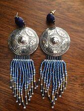 Vintage Costume Concho Blue Beaded Earrings