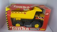 """1997 Tonka MIGHTY DUMP TRUCK pressed steel in orig box never removed 16"""" long"""