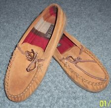 mens moccasin slippers size 8 leather/suede brown slip-ons