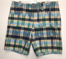 LANDS END Boys Plaid Checks Madras Striped Short Pants Size 10 Multicolored Euc