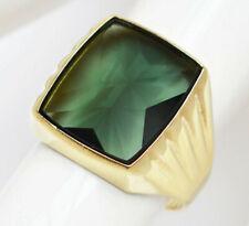 Herrenring Herren Ring 8 Karat 333 Gold 4 g Gelbgold Turmalin grün Gr. 61