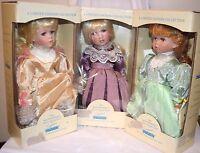 "NIB Set Of 3 The Maud Humphrey Doll Collection By Seymour Mann Ceramic Dolls 12"""