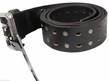 "NEW ARMOURDILLO LEATHER BELT Size Large 42"" Long Black Studded Rivets Skate NWT"