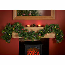 New Christmis Decoration Pre-lit Garland with Cones & Berries 6ft