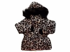 NWT Girl's Justice leopard brown ivory winter coat with hood ~ 5 FREE SHIPPING
