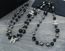 """100% Authentic Chanel Classic Pearl 5 CC 44"""" Long Necklace And Belt In Gunmetal"""